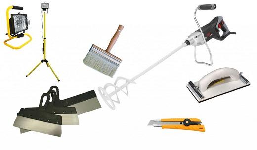 На картинке инструменты для шпатлевания потолка