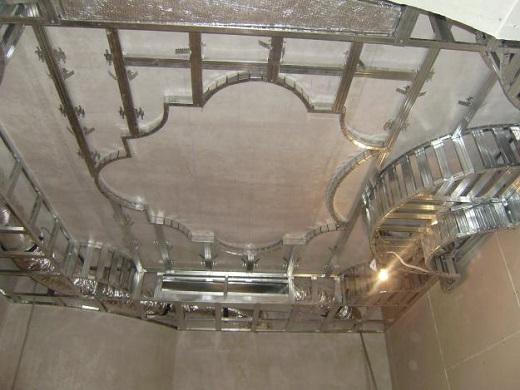 Монтаж каркаса для потолка из ГКЛ на фото