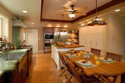 Кухонный люстра-вентилятор со светильником на изображении