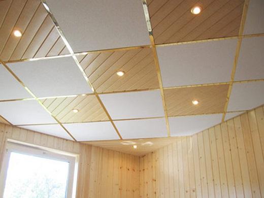 Ламинированная потолочная плитка на фотографии