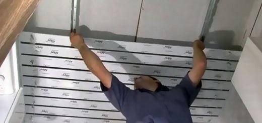 Монтаж реечного потолка на изображении