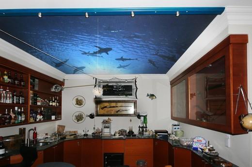 На кухне заядлого рыбака или аквалангиста могут быть такие потолки с фотообоями