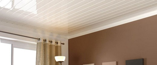На изображении потолок, отделанный с помощью панелей ПВХ