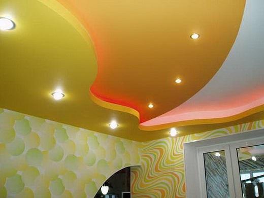 Потолок из ГКЛ на фотографии