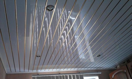 Потолок отделанный панелями ПВХ на фотографии