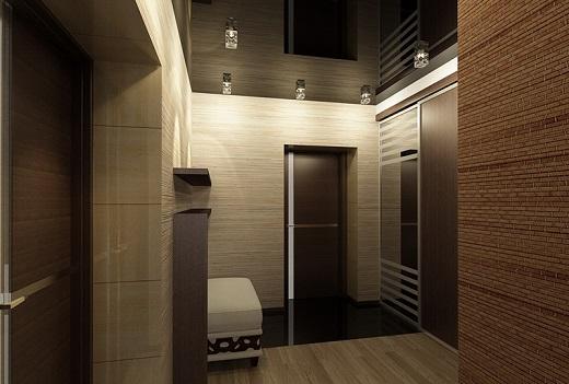 Натяжные потолки с подсветкой прекрасно смотрятся в коридоре