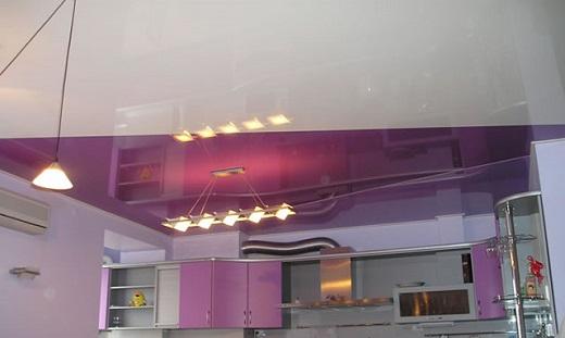 Вариант кухонной люстры для натяжного потолка  на снимке