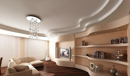 Пример использования в гостиной натяжного матового потолка
