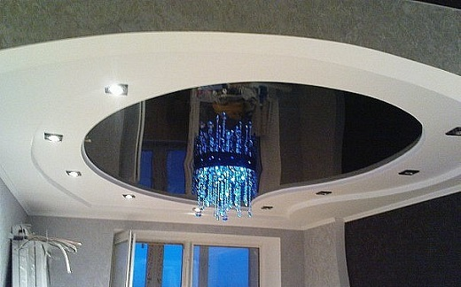 Один из вариантов многоуровневого освещения с люстрой на натяжных потолках