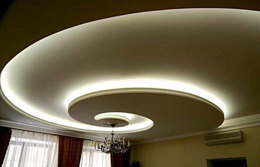 Двухуровневый натяжной потолок с подсветкой в гостиной