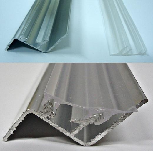 На рисунке изображен профиль для парящих натяжных потолков в разрезе
