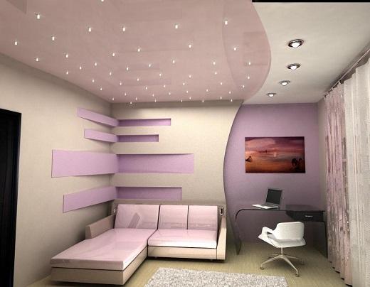 Так выглядят точечные светильники для натяжных потолков в интерьере