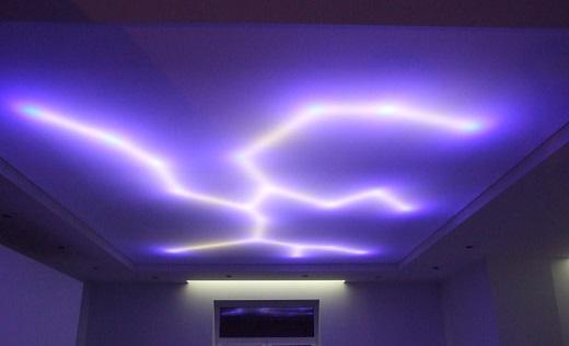 Подсветка натяжных потолков с внутренней стороны смотрится оригинально