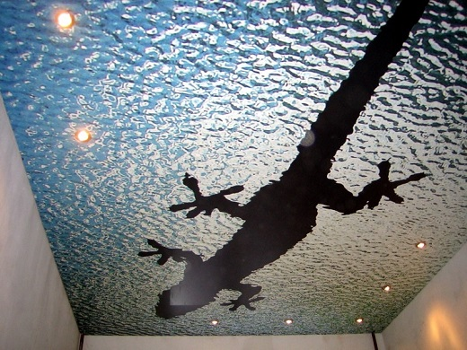 Одноуровневые натяжные потолки с фотопечатью в гостиной