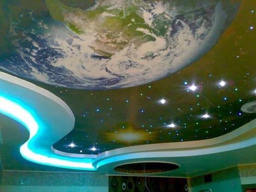 Звездное небо из ПВХ пленки на потолке