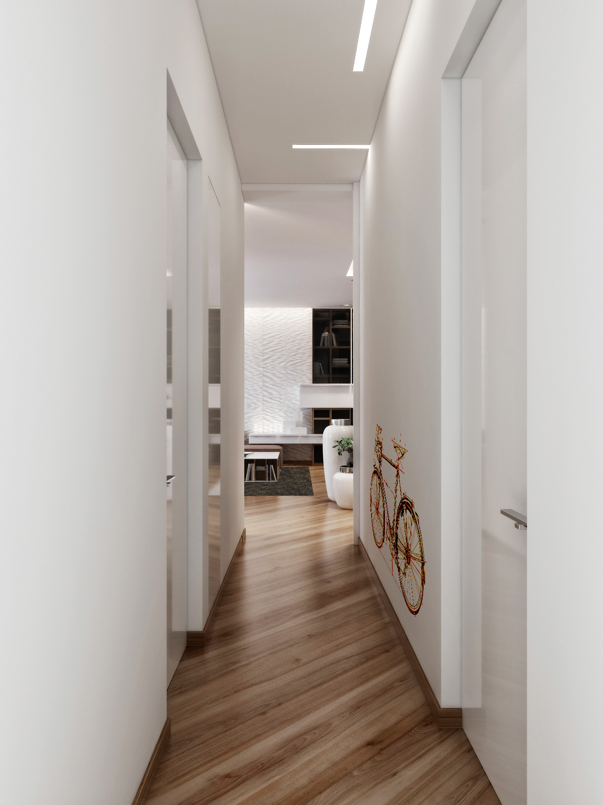 breathtaking-white-interior-corridor-art-with-bicycle-wall-decals-as-well-as-unique-wood-flooring-laminate